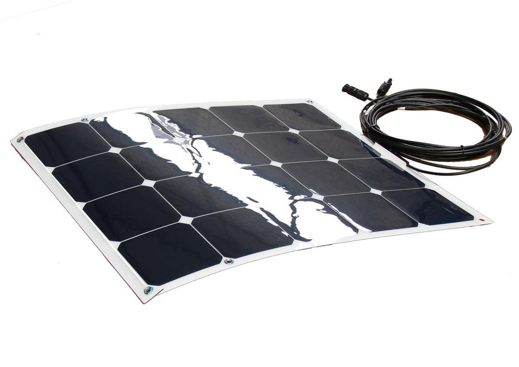 Semifleksibel solcelle 50W/12V til båd, campingvogn med Sunpower celler