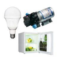 Load, ventilation, LED lights, cooling, pumps