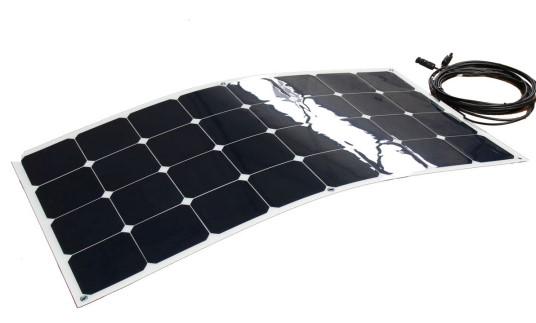 Semifleksibel solcelle 100W/12V til båd, campingvogn med Sunpower celler