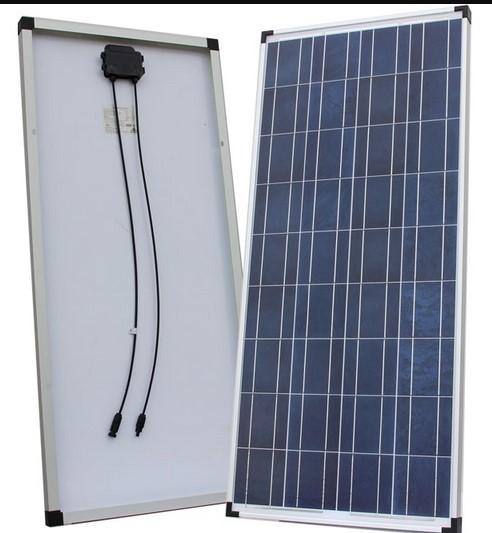 100Wp/12V solcelle monokrystallinsk med 2x5m kabler