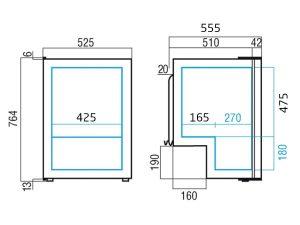 Køleskab m/ fryseboks C115i, 118 liter, kompressor,12-24V DC