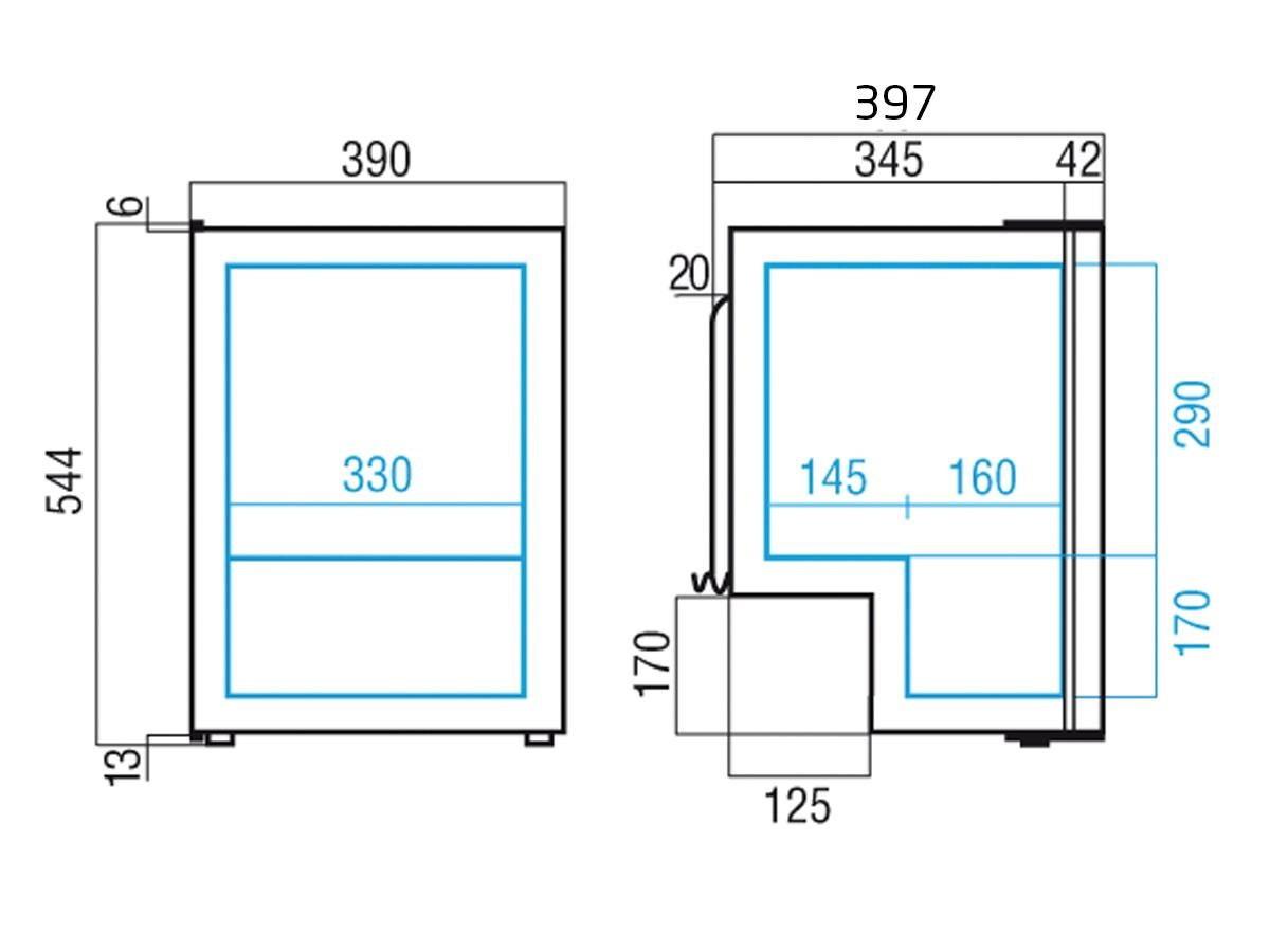 Køleskab m/ fryseboks C39i, 40 liter, kompressor,12-24V DC