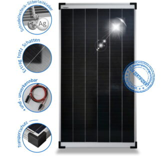 100Wp 24V Solar Module PV-100-M-72S-SH, Mono,