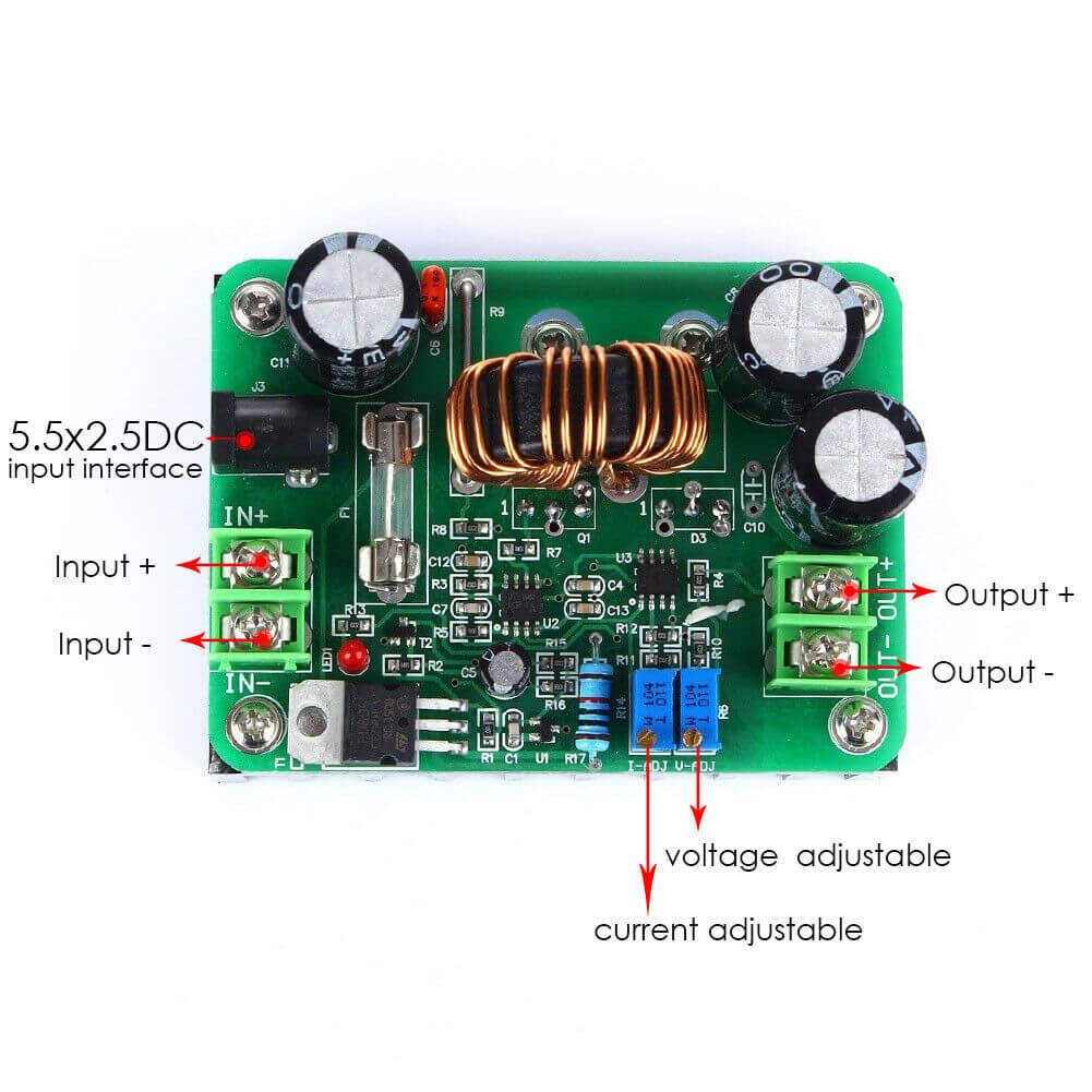 StepUp modul 600W 10A DC 12V til 80V
